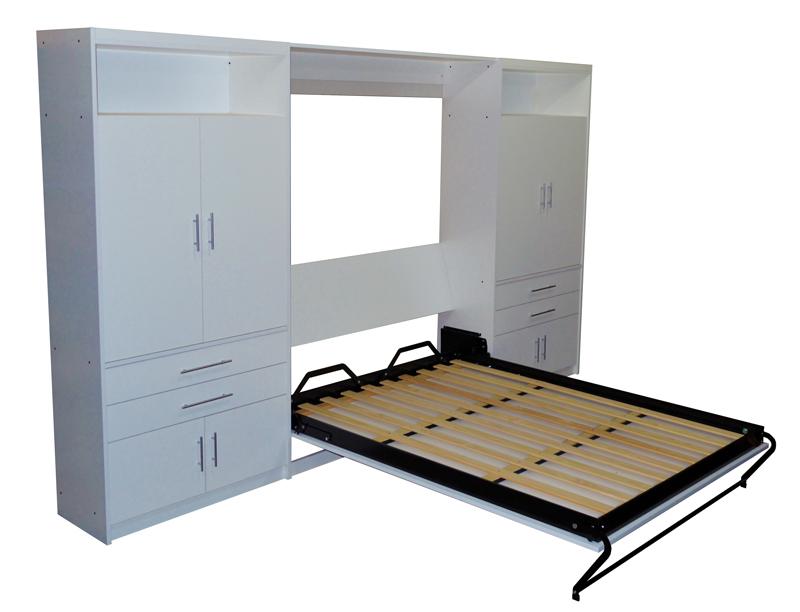 mueble placard con cama rebatible para y plazas en melamina blanca con mdulos laterales